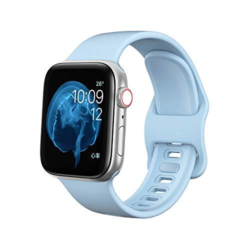 Dee Plus Ersatz Armband Kompatibel für Apple Watch Armband 38mm 42mm 40mm 44mm, Soft Silikon Classic Sportarmband Ersatz Armbänder für iWatch Armband Series SE/6/5/4/3/2/1, Geschenk Displayschutzfolie