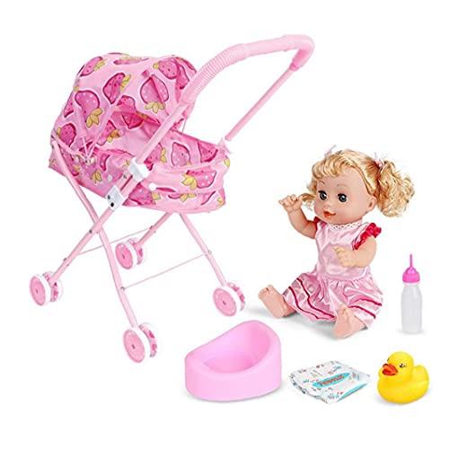 NaiCasy 4PCS / Set Baby Doll zusammenlegbare Kinderwagen Pram-Geschenk-Set mit Baby-Puppe-Karikatur-Drucken-Entwurfs-Baby-Spaziergänger mit Mietklo dunkelen Spielzeug Nursing-Flaschen-Geschenk für