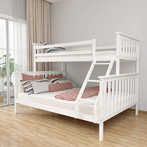 CDBAIRUN Twin Over Full Bunk Bed Frame, Solid Pine Wooden Bed with Removable Ladder and Strong Slat Support, with Safety Guard Rail for Kids, Teens and Adults