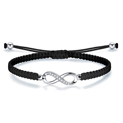 J.Endéar Unendlichkeit Armband 925 Sterling Silber geflochtenes Seil für Frauen Mädchen Unendliche Liebe Freundschaft Geschenk Handgemachten Schmuck
