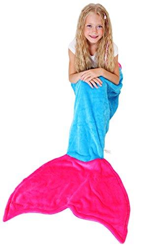 Cuddly Blankets Meerjungfrau Decke für Kind Mädchen - Super Weich & Warm polares Vliesgewebe Kuscheldecke Kinder und Jugendliche (3-12 Jahre) (Meerblau & Dunkel Rosa)