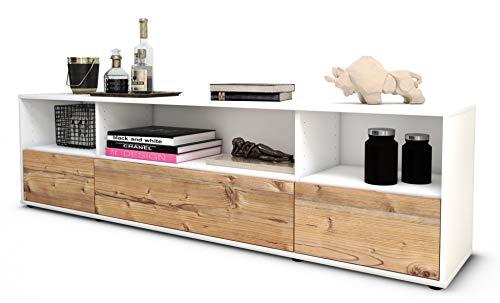 Stil.Zeit TV Schrank Lowboard Aurelia, Korpus in Weiss Matt/Front im Holz-Design Pinie (180x49x35cm), mit Push-to-Open Technik und Hochwertigen Leichtlaufschienen, Made in Germany