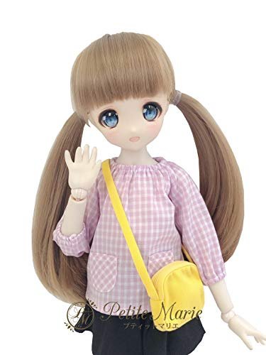 Petite Marie Japan for 1/4 Doll 16 inch 40cm MDD (Mini Dollfie Dream) MSD BJD Cute Gingham Check Smock Cotton Long Sleeves with Bag Kindergarten (Pink) [No.0079] Clothes Only not Include Doll