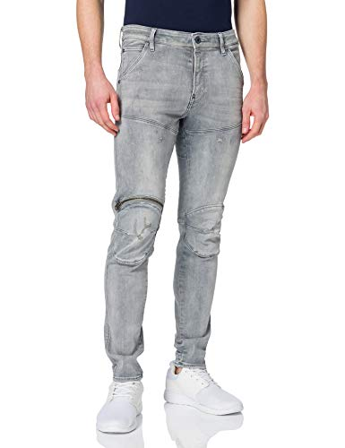 G-STAR RAW 5620 3D Zip Knee Skinny Jeans, Vintage Oreon Grey Destroyed A634-c296, 36W / 36L para Hombre