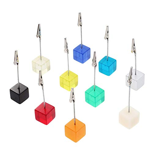 Betrothales 10Pcs Photo Clip Holder Cube Resin Card Picture Memo Clip Holder Desk Crocodile Clip Holder Wedding Card Holder DIY Gift Sale Home Uso Diario Producto (Color : Colour, Size : Size)