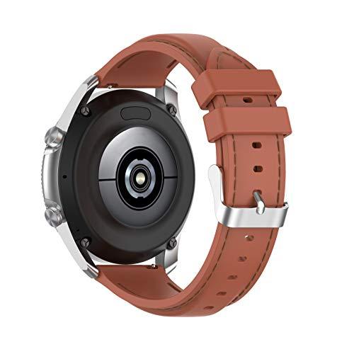 Superper Pulseira de relógio de 22 mm, pulseira de silicone costurada universal para relógio Samsung Gal-axy 3 45 mm Gear S3 marrom
