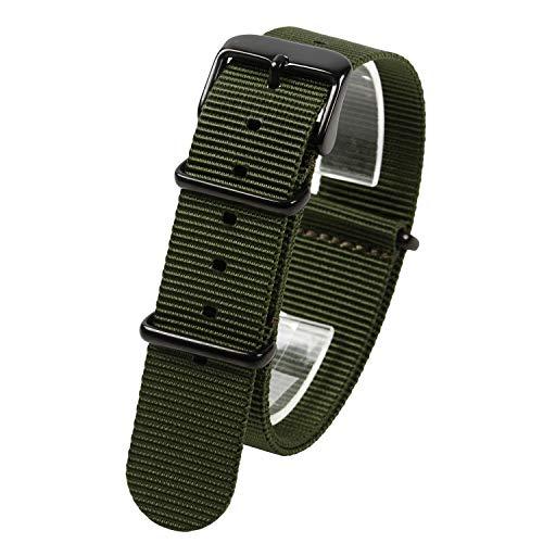 『NATMK 時計ベルト NATO ブラックバックル ナイロン ストラップ 取付マニュアル付 (20mm, カーキグリーン)』のトップ画像