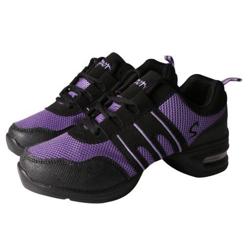 Amur Leopard Zapatos de Baile Negro con Violado para Mujer Zapatos Deportivos para...