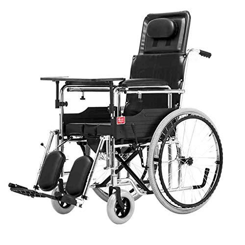 Rolstoel met handremmen, opvouwbare aanhanger rolstoel met handgrepen, met commode en eettafel zijn er twee soorten banden om uit te kiezen
