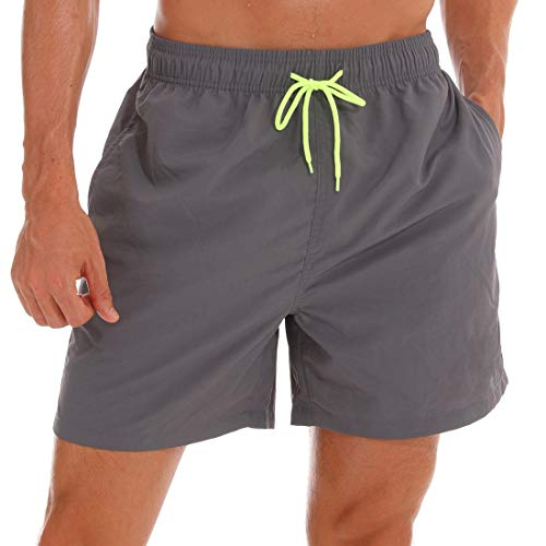 SILKWORLD Men's Swim Trunks Quick Dry Beach Shorts with Pockets (US M, Grey)