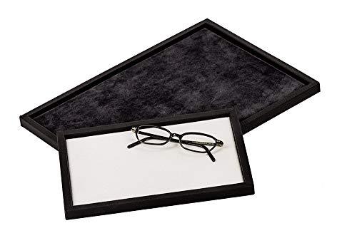 Vorlagetablett Präsentationstablett Verkaufstray Brille Optik Uhren Schmuck S Größe 250 x 180 mm (anthrazit)