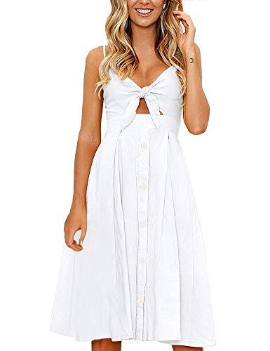 FANCYINN Kleid Damen Sommer Knielang Dekoltee V-Ausschnitt Sommerkleid Midi Träger Rückenfreies A-Linie Kleider Strandkleider Weiß