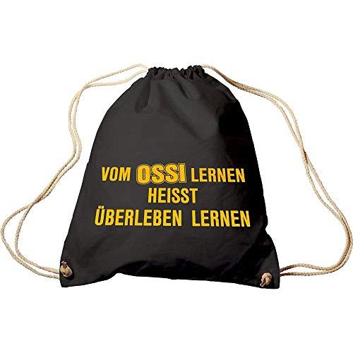 Fan-O-Menal Sporttasche mit Aufdruck - Vom Ossi Lernen heisst überleben Lernen - 65078 schwarz - Trend-Bag Turnbeutel Rucksack