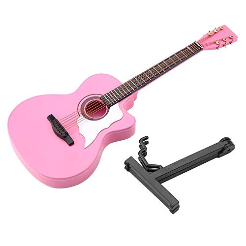 Mini Guitar Model, Miniature Acoustic Guitar Replica Instrument Model Ornaments with Stand and Case Best Gift for Kids Christmas