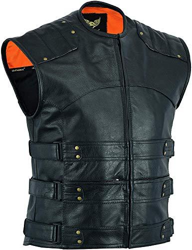 Divine Men's SWAT Gladiator Style Motorcycle Biker Leather Club Vest with Two Inside Gun Pockets (XXXX-Large) Black