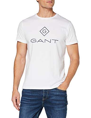GANT Lock Up SS T-Shirt Camiseta, Blanco, XS para Hombre