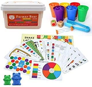 Beauenty Rainbow Counting Bears Toys for Kids, 132Pcs Counting Teddy Bears Gift Set with Color Matching Sorting Cups, Educ...