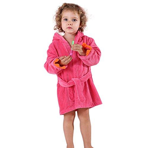 MICHLEY Baby Bademantel Kinder 100% Baumwolle Kapuzenhandtuch Mädchen Dinosaurier Badetücher, Rot 1-3 Jahre