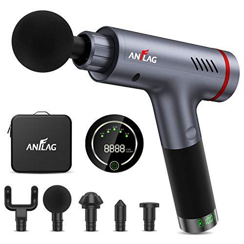 Pistola per Massaggio muscolare pistola massaggiante professionale con Touchscreen LCD Massage Gun Portatile Elettico con 5 Testine