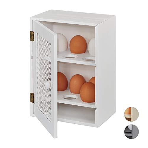 Relaxdays 10027986_49 Huevera Rústica, Armario 12 Huevos, Huevero Cocina, Bandeja, 1 Ud, Madera y Metal, Blanco, 25 x 18 x 12 cm