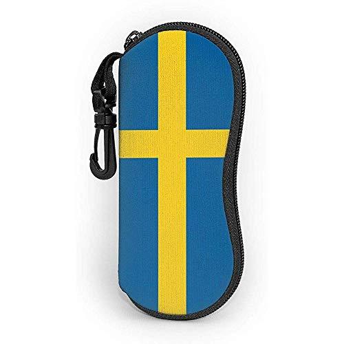 WCHAO Brillenetui Schweden Flagge mit Karabiner Ultra Light Portable Zipper Sonnenbrille Soft Case