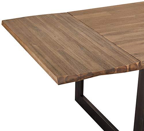 Ibbe Design Ansteckplatte Tischplatte für Mallorca Ausziehbar Esstisch Natur Baumkante Massiv Braun Lackiert Akazie Holz Esszimmer Tisch, 90x50x7 cm
