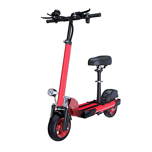 Super-ZS Elektrische scooter, 25,4 cm (10 inch), 48 V, aluminium frame, 13 A, lithium batterij, opvouwbaar, elektrische auto, levensduur van de batterij 50 km (zwart, wit, rood)
