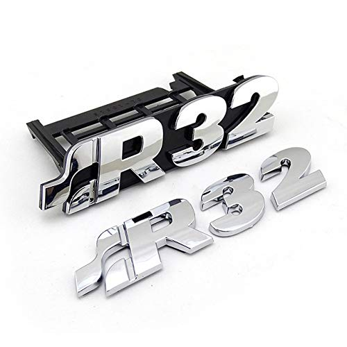 Dmwfaker für Golf MK4 R32, Chrom Grill Abzeichen R32 Logo Inschrift Auto Emblem