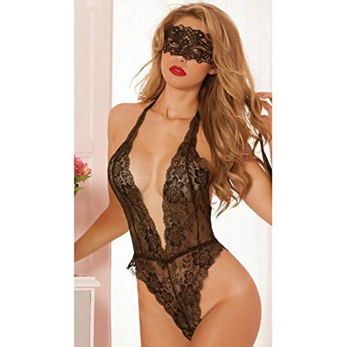 BH-Hemden für Damen Damen-Reizwäsche Erotische Sexy Dessous Pyjamas Offener BH Teddy Für Frauen Sling Lace Porn Babydoll Bandage Krawatte Bustier Deep V Unterwäsche Costumes-WY210-blackwithmask_One_S
