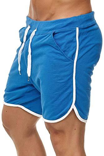 Happy Clothing Kurze Herren Hose Shorts Bermuda Jogginghose Sommer Pants Stoffhose Sweathose, Größe:M, Farbe:Blau