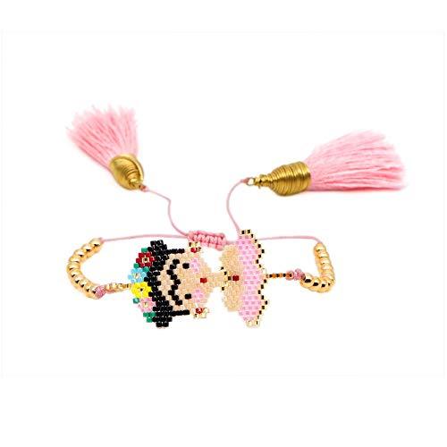 LLXXYY Gevlochten Armband, Vintage Gevlochten Touw Handgemaakte Bangle Boheemse Cartoon Kwastje Kralen Roze Goud Armbanden Voor Heren Vrouwen Kinderen Bedel Sieraden Accessiors Gift
