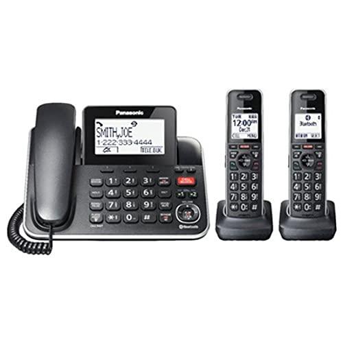 Panasonic KX-TGF882B Talking Caller ID Call Waiting Answering System Expandable Upto 6 Handsets Bluetooth - 3 Handset Corded/Cordless Phone (Renewed)