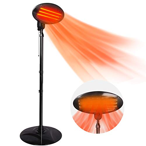 Patio Heater 3 Adjustable Power Level from 500W ~1500W Electric Outdoor Heater 3s Instant Heating Infrared Heater w/Overheat Protection Standing Indoor Heater for Big Room Backyard (Heater-Drawstring)