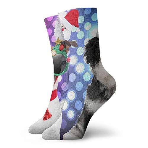 Dos perros para Navidad novedad Crew calcetines clásicos de ocio deporte calcetines cortos 30 cm largos calcetines para hombres mujeres
