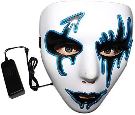 Máscaras Halloween, FANDE Máscaras de Terror, Craneo Esqueleto Mascaras, Halloween Purge Máscara 3 Modos de Iluminación, para Halloween/Cosplay/Mascarada (Azul)