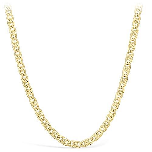 Pantserketting, uniseks, 14 karaat/585 goud, breedte 4 mm, lengte naar keuze
