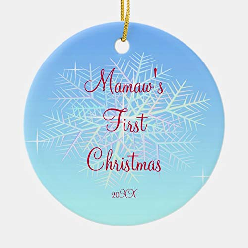 Personalized Mamaw's First Christmas Snowflake Ornament 3 Ihch Ceramic Ornament