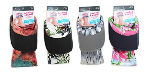 Scunci Everyday&Active Folding Visor with Storage Pouch, Pack of 4