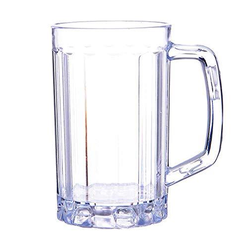 Steerfr Jarra De Cerveza De 500 Ml, 2 Jarras De Cerveza De Acrílico Resistentes Jarra De Cerveza De Plástico KTV Grande Desayuno Leche Café Taza De Agua Bar Bebida Copa