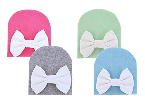 VUCDXOP Sombrero de algodón para recién nacido, gorro de bebé, gorro de algodón, gorro unisex, turbante para bebés de 0 a 6 meses, paquete de 4 (rosa, gris, verde y azul)