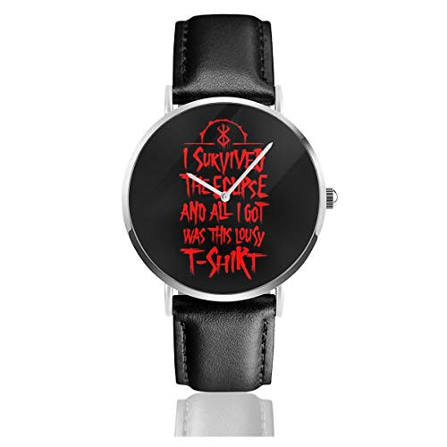 Unisex Business Casual I Survived The Eclipse Berserk Watches Quartz Leather Watch with Black Leather Band for Men Women Young Collection Gift