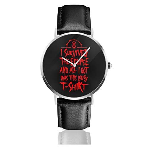 Unisex Business Casual I Survived The Eclipse Berserk Uhren Quarzuhr Lederband schwarz für Herren Damen Young Collection Geschenk