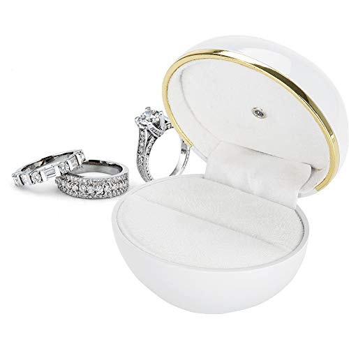 Salmue LED Licht Schmuckkoffer für Ringe, Schmuckschatulle für Verlobung und Hochzeit, Weich und Glänzend Schmuckkästen Vitrine Ehering Box Aufbewahrungbox(Weiß)