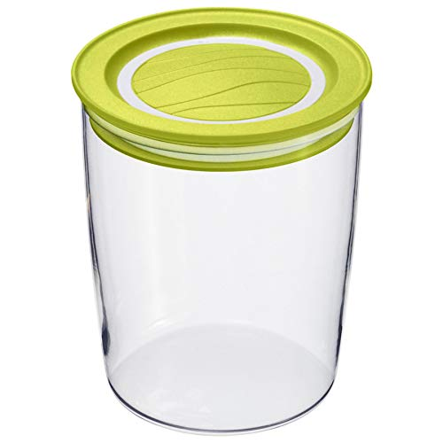 Rotho Cristallo Schüttdose 0.7 l mit Deckel, Kunststoff (BPA-frei), grün/transparent, 0,7 Liter (11 x 11 x 11,8 cm)