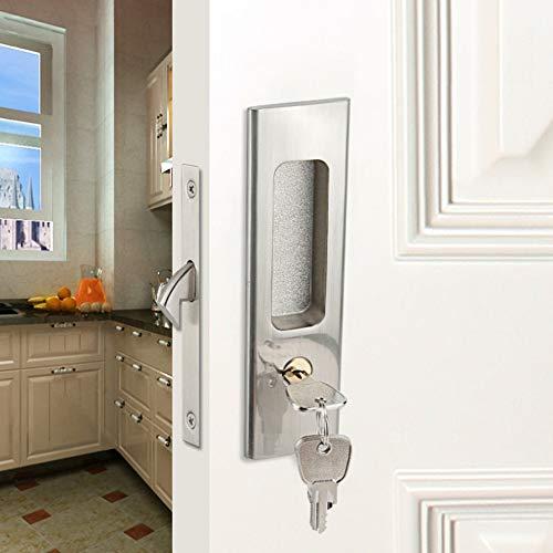 WOLFBIRD Cerradura para puerta corredera con llaves de aleación de aluminio, cerradura de seguridad para muebles de madera