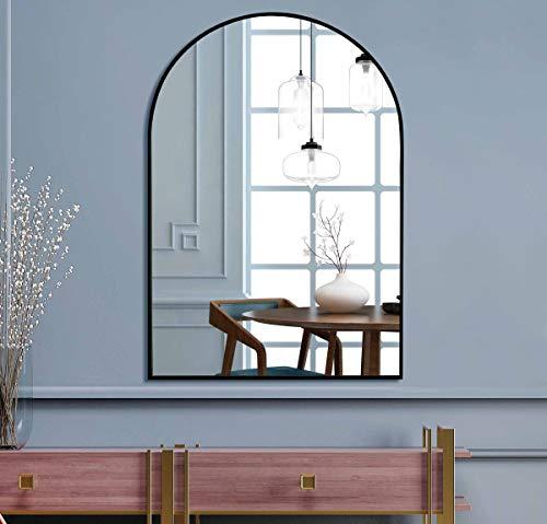 Muzilife Espejo de pared grande con marco de metal negro, espejo con soporte para colgar en el salón y el baño, 60 x 90 cm