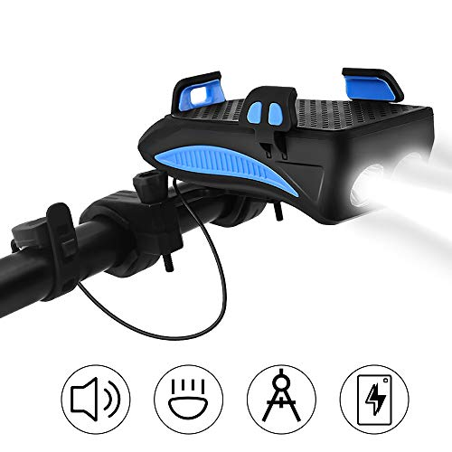 CS Force Bike Phone Mount USB Rechargeable Bike Light Set Adjustable Bicycle Holder Handlebar Bicycle Headlight with Horn, Built in 4000mA Cellphone Power Bank