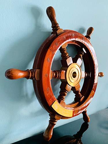 Schiff Steuerrad mit Messingnabe, antiker Look