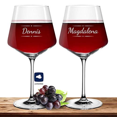 Deitert 2X Leonardo Burgunderglas Rotweinglas XL mit Namen oder Wunschtext graviert, 730ml, PUCCINI, personalisiertes Premium Weinglas in Gastroqualität (Verzierung 03)