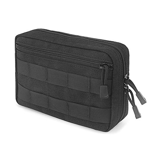 FUNANASUN Tactical Admin Molle Pouch EDC EMT Utility Bag Compact Water-Resistant Vest Pouches (Black (Upgraded))